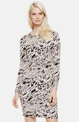 Petite Women's Vince Camuto 'Current Medley' Print Long Sleeve Dress