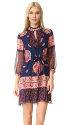 Anna Sui Bouquet Scarf Print Silk Dress Navy Multi