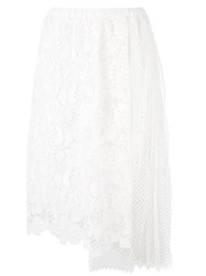 N 21 No21 Lace Embroidered Skirt Women Silk Polyester Acetate 42 White