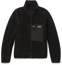 Neighborhood Shell Trimmed Fleece Zip Up Jacket Black