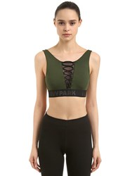 Ivy Park Mesh Lace Up Sports Bra Army Green
