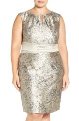 Ellen Tracy Plus Size Women's Metallic Jacquard Sheath Dress