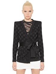 Balmain Checkered Viscose Jacquard Jacket