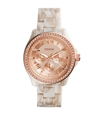 Fossil Ladies Shimmer Horn Cecile Glitz And Horn Bracelet Watch Rose Gold