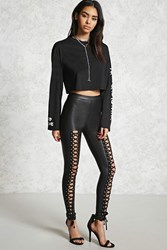 Forever 21 Faux Leather Lace Up Leggings Black