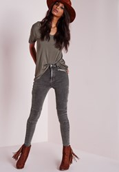 Missguided High Waisted Zipped Cargo Skinny Jeans Charcoal Grey