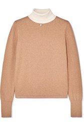 Staud Urchin Faux Pearl Embellished Cotton Blend Turtleneck Sweater Sand