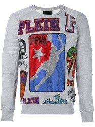 Philipp Plein Logo Print Jumper Men Cotton M Grey
