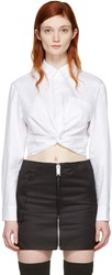 Alexander Wang T By White Twist Long Sleeve Cropped Shirt