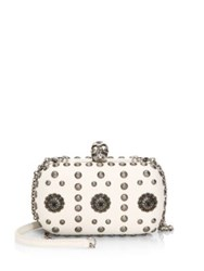 Alexander Mcqueen Skull Studded Leather Clutch Off White