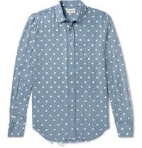 Saint Laurent Distressed Polka Dot Voile Shirt Blue