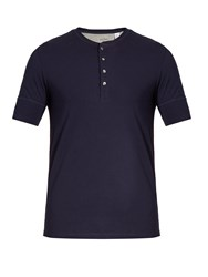 Paul Smith Short Sleeved Jersey Henley Top Navy