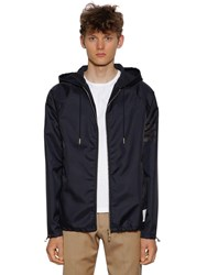 Thom Browne Hooded Zip Up Ripstop Jersey Parka Navy