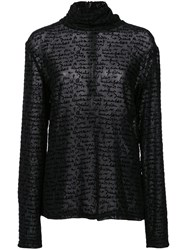 Christian Siriano Written Pattern Top Black