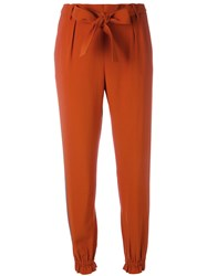 Msgm Side Stripe Tapered Trousers Brown