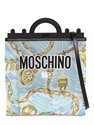 Moschino Medium Chain Print Tote Bag White Blue