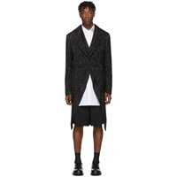 Comme Des Garcons Homme Plus Black Sequin Double Layer Coat