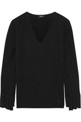 Akris Woman Fringed Cashmere And Silk Blend Sweater Black