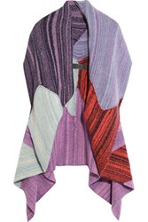 The Elder Statesman Zig Zag Patchwork Cashmere Cardigan Purple