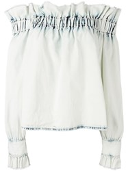 Msgm Off The Shoulder Ruffle Top Blue
