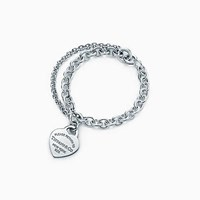 Tiffany And Co. Return To Tiffanytm Double Chain Heart Tag Bracelet In Sterling Silver Medium.