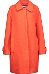 Moschino Embroidered Wool Blend Coat Bright Orange
