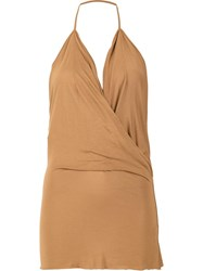 Rick Owens Lilies Wrap Effect Halter Top Brown