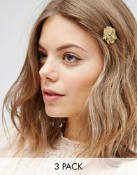 Asos Pack Of 3 Metallic Flower Hair Clips Mixed Metal Multi