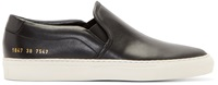 Common Projects Black Leather Slip On Sneakers