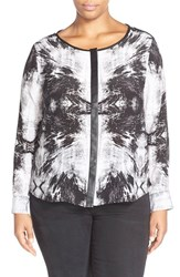 Plus Size Women's Tart 'Krista' Mirror Print Silk Top Foil Time Lapse