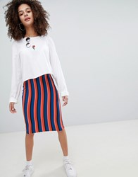 Bershka Bright Striped Midi Skirt In Multi