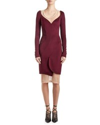 Givenchy Long Sleeve Cady Sweetheart Dress Dark Purple