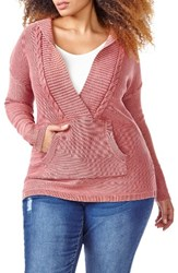 Addition Elle Love And Legend Plus Size Women's Acid Wash Hoodie Sweater Old Rose