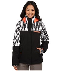 Roxy Jetty Block Snow Jacket Zig Zag Stripe Women's Coat Black