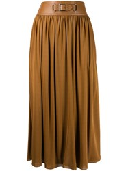 Ralph Lauren Buckle Pleated Skirt Brown