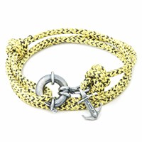 Anchor And Crew Yellow Noir Clyde Rope Silver Bracelet Yellow Orange