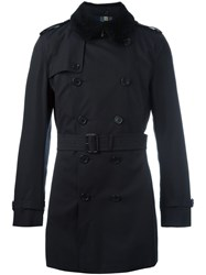 Burberry Double Breasted Trench Coat Blue