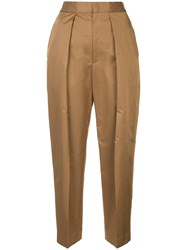 Astraet Pleated Front Tapered Trousers Brown