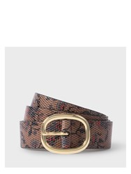 Paul Smith Men's Brown 'Logan Floral' Print Calf Leather Belt