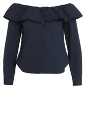 Fashion Union Gaston Blouse Navy Dark Blue