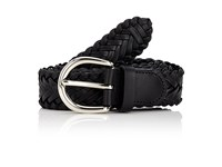 Barneys New York Men's Braided Leather Belt Black