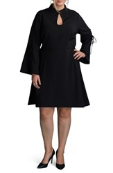 Eci Plus Size Women's Bell Sleeve A Line Dress Black