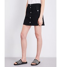 The Kooples Button Up High Rise Stretch Denim Skirt Bla01