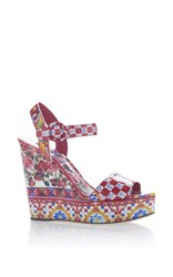 Dolce And Gabbana Printed Wedge Sandals Red