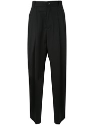 Icosae Wide Leg Trousers Men Wool S Black