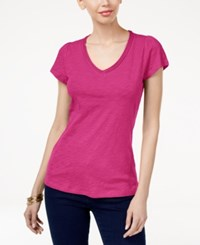 Inc International Concepts Cotton V Neck T Shirt Only At Macy's Intense Pink