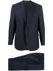 Canali Piped Seam Single Breasted Suit Blue