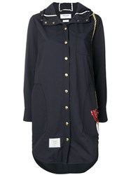 Thom Browne Duck Bag Patch Hooded Shirtdress Blue