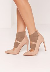 Missguided Elastic Strap Court Shoes Nude Pink