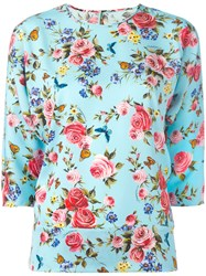 Dolce And Gabbana Floral Three Quarter Sleeve Blouse Blue